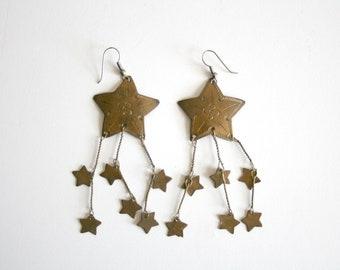 Brass Shooting Star Earrings