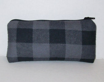 """Padded Pipe Pouch, Charcoal Grey, Plaid Pouch, Glass Pipes, Pipe Bag, Pipe Case, Grunge, Stoner, Hipster, 420, Smoke Accessory - 5.5"""" SMALL"""