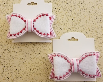Heart trimmed Bow Barrette