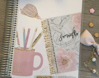 Planner Cover for Erin Condren Planner, Happy Planner, Recollections Planner, laminated, A5 Dashboard, Floral, pink, coffee, dashboard, grey