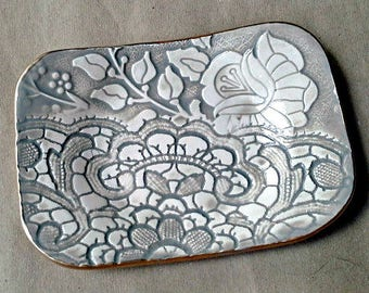 Ceramic Trinket Dish  Soap Dish Sponge Holder Taupe  edged in gold