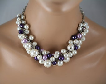 Chunky pearl necklace for your bridesmaids in ivory purple and lavender