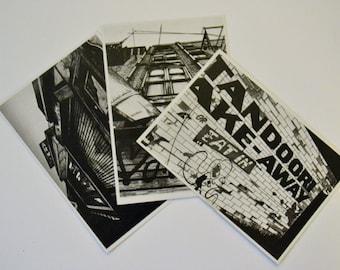 Ltd Edition set of 3 Postcards.  Black and White Architectural illustrations by artist [EK!]