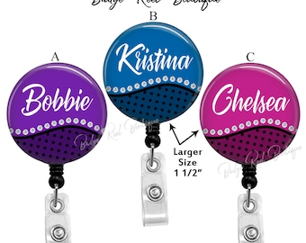 Personalized Badge Reel Retractable Badge Holder for Nurse -Secretary - Teacher - Stethoscope Tag for RN, Name Clip