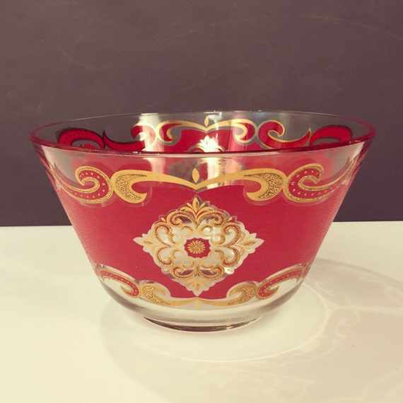 Mid-Century handmade glass Bowl by Culver LTD  With red & Gold detail.