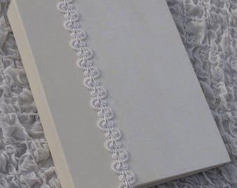 Ivory Wedding Photo Album, Hand-Beaded Lace, Personalized, Photo Album, 8x10, 9x12, Wedding Gift, Anniversary Album, ivory, White lace, book
