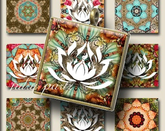MOROCCAN LOTUS Mix 1x1 , Printable Digital Images, Cards, Gift Tags, Scrabble Tiles, Magnets