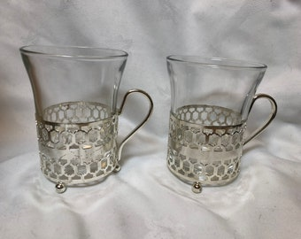 2 x French Duralex vintage glasses  / mugs with holders
