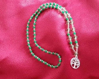 Tree of Life necklace with jade beads