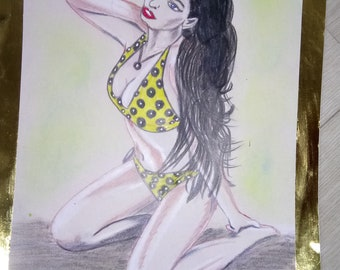 Drawing woman swimsuit