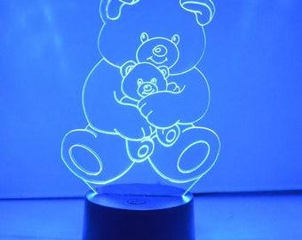 Teddy and Baby Bear LED Acrylic Light