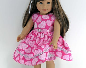 Handmade Doll Clothes for 18 inch American Girl - Dress, Bloomers, Headband - Sparkly Hearts - Shoes Option