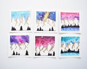 Watercolor Mountain landscapes, Mountain Art, Mini mountains