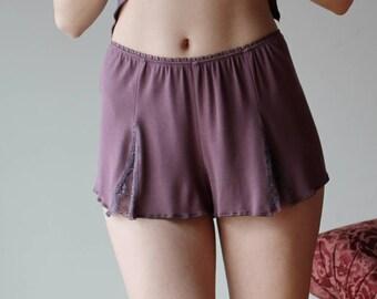 bamboo sleep shorts with lace godets - NOUVEAU bamboo sleepwear range - made to order