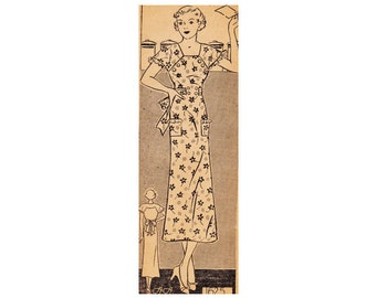 1930s Dress Vintage Sewing Pattern Anne Adams Patterns 1625 Size 16 Bust 34 from 1934 Mail Order 30s Vintage Pattern