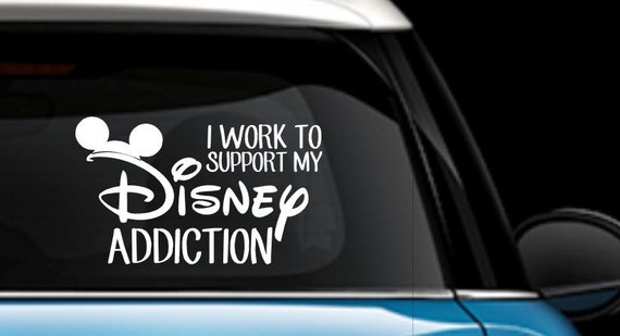 I work to support my disney addiction car decal disney car decal