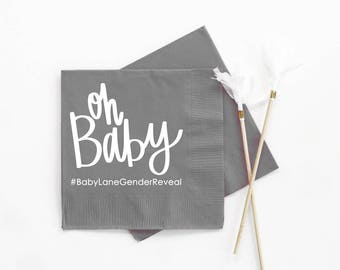 Gender Reveal Party Napkins Personalized Paper Napkins Oh Baby Gender Reveal Decorations Custom Napkins Baby Reveal Party Beverage Napkins
