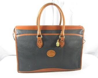 Genuine vintage DOONEY & Bourke black leather briefcase attache 80S