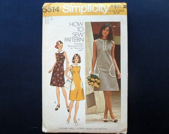 1973 Shift Dress & Bag Vintage Pattern, Simplicity 5514, Size 12, Bust 34