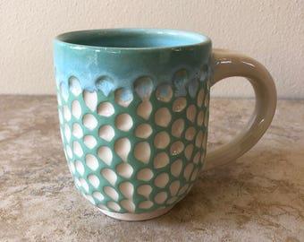 Sea Foam Green, Handmade Pottery and Ceramics, Wheel Thrown Mug
