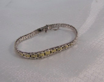 1980's Italian Sterling Mesh Weave Bracelet with Gold Vermiel Center Row