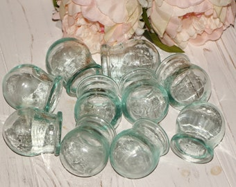 Fire cups vintage blue glass medical glass decorative jars body massage apothecary jars Chinese massage collectible glass Russian vintage
