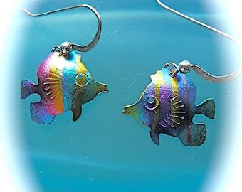 fish, fish jewelry, tropical earrings, summer accessories, niobium handmade earrings, hypoallergenic jewelry, rainbow color, nature earrings