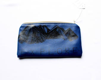 MOUNTAINS Zip Pouch, Vegan Leather. Travel Organizer, Clutch Pencil Case, Card Holder, Toiletries Travel Upcycled Small Mountains Pnw Denim
