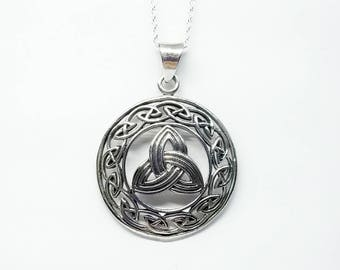 Celtic Trinity Necklace~Silver Trinity Knot Pendant~Celtic Triquetra Necklace~Large Trinity Symbol Charm~Mens Celtic Jewelry~Gift for Her