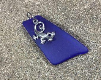 Blue Sea Glass and Lizard Pendant