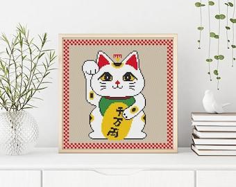 PATTERN: Manekineko cross stitch pattern, Lucky cat, Modern Cross Stitch Pattern, Cute Cross Stitch Pattern, Instant Download PDF