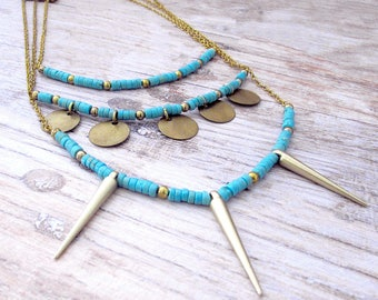 Layered Spike Necklace - Gifts for Her - Bohemian Jewelry Gifts for Her - Girlfriend Gifts Under 40 - Turquoise - Everyday - Boho Jewelry