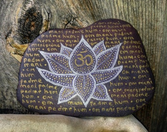 Om Painted River Stone