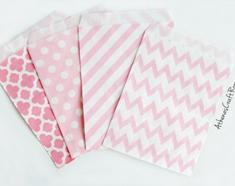 Pink Pattern Paper Bags, Polka Dot Paper Bags, Chevron Favor Bags, Wedding Favors, Baby Shower Favors