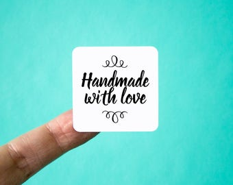 Handmade with Love Labels | Packaging Stickers | Square Shape | Handmade with Love Stickers | Shop Supplies | Shipping Supplies