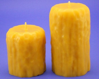 Pure Beeswax Candles, 3.2 x 3 and 3.2 x 5 Beeswax Pillar Candles, Rustic Drip Candle Pillars, Pair of 5 Inch Organic Bees Wax Candles