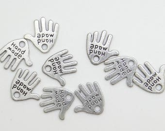 12 old silver metal clay charms - bc196