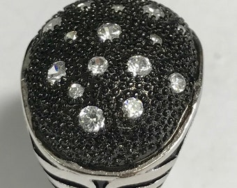 Sterling Silver Black & White Simulated Diamond Dome Ring