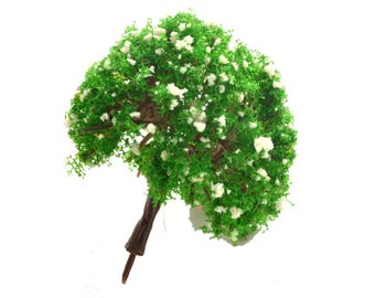 Green with Beige Fluffy Miniature Tree Garden Plants Terrarium Doll House Ornament Fairy Decoration  070516