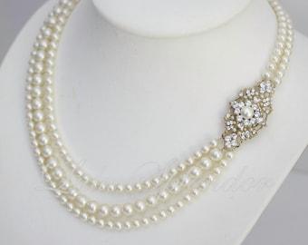 Gold Wedding Necklace Swarovski Pearl Necklace Bridal Necklace Rhinestone Wedding Jewelry MARCELLA GRAND
