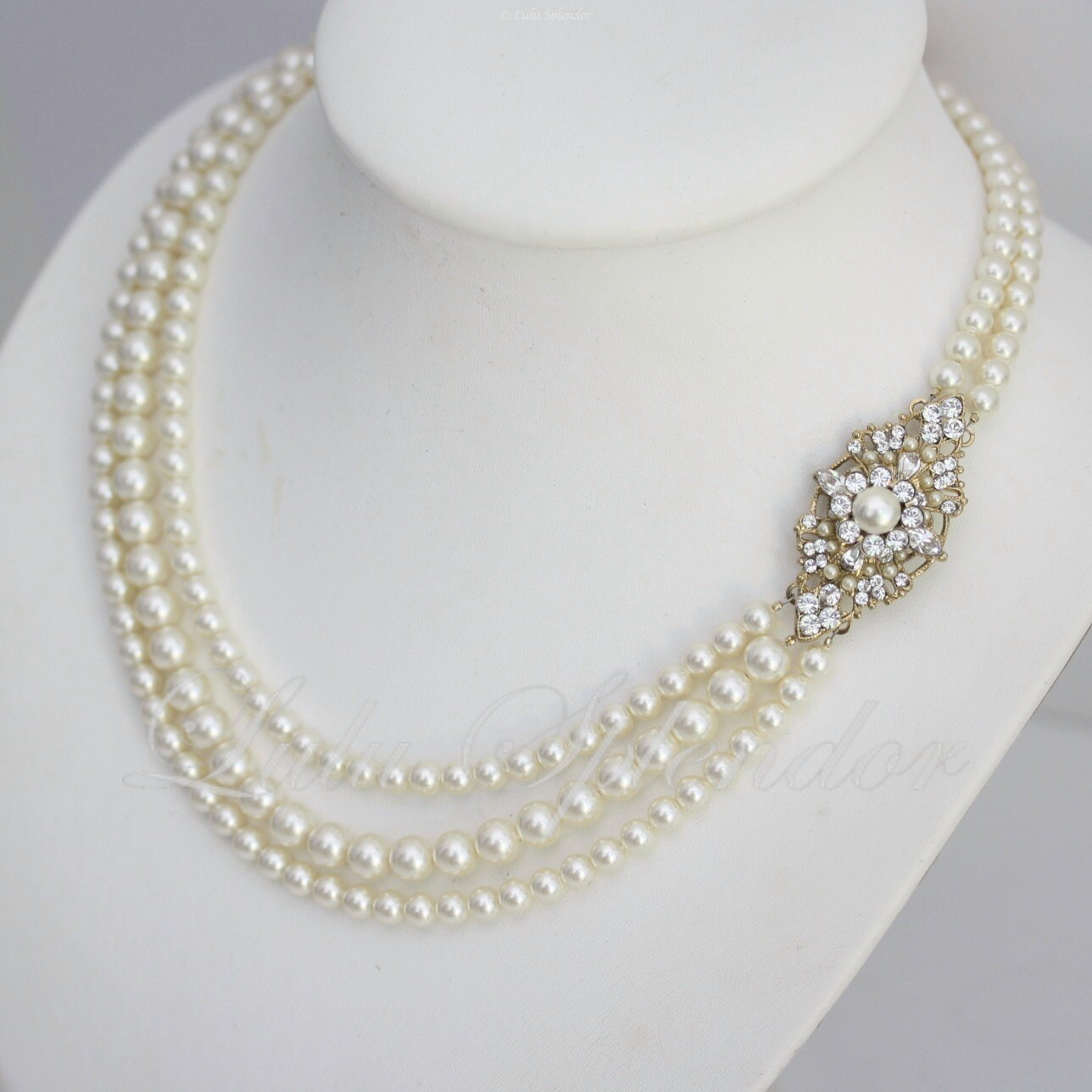 Gold Wedding Necklace Swarovski Pearl Necklace Bridal Necklace
