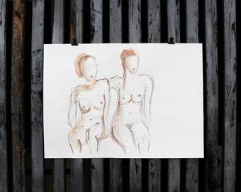 """Original drawing of Act of """"Two seated II"""" / nude art / watercolor, chalk and pencil"""