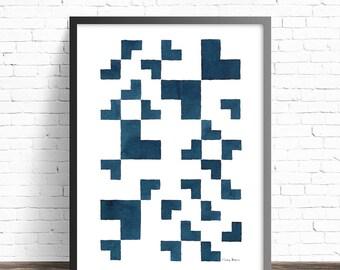 Blue art print . Minimalist print . Geometric wall art . Minimalist wall decor . Modern wall decor . Minimalist wall art . Modern wall art