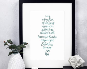 I Am A Daughter Of The King Print - Christian Print - Christian Gifts - Gift for Her - Inspirational Quote - Christian Women