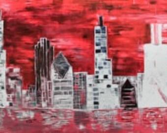 8.5x11 Print Chicago Skyline Red