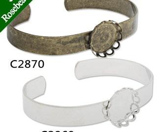 10PCS Bracelet With 15MM Round Bezel,Cuff,Adjustable,Bracelet Blanks,Cuff Bracelet Blank