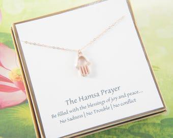 Rose gold Hamsa prayer necklace, simple, minimalist, good luck, love, pendant