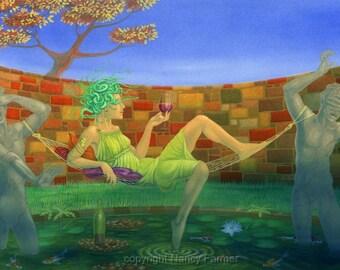 """Medusa art print - """"Medusa's Hammock"""" - picture of the classical Femme Fatalle, monster, goddes. Print of a fantasy painting by Nancy Farmer"""
