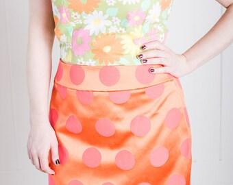 Sixties Inspired Polka Dotted Pink/Orange Mini Skirt! L - 1960s