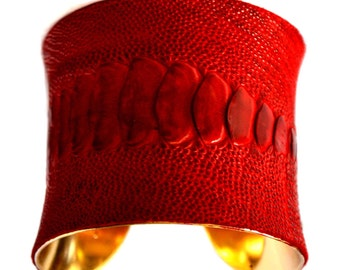 Blood Red Ostrich Leather Gold Lined Cuff Bracelet - by UNEARTHED
